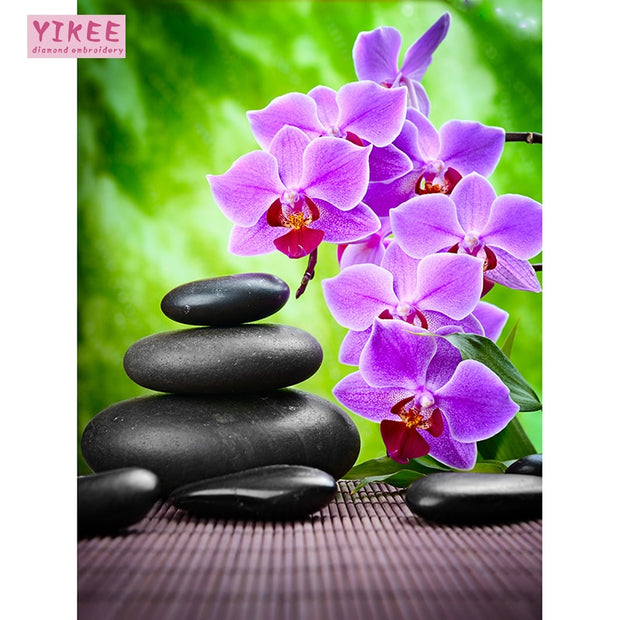 YIKEE 5d Diy Diamond Embroidery Orchid And Cobblestone,embroidery Diamond,5d Diy ,full Square Diamond Painting Flowers