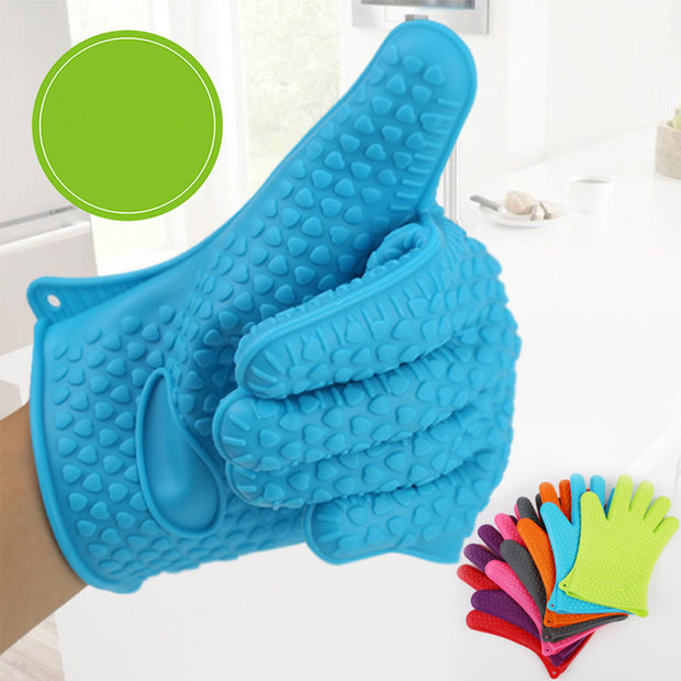 YOTHG Microwave Oven Gloves Heat Insulated Silicone Heat-resistant Non-slip Gloves For Cooking Baking Microwave Pizza BBQ (blue)