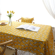 Yellow Duck Tablecloth Cotton Linen Lace Table Cover Coffee Table Multi Functional Table Cloth For Outdoor Home Decor