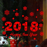 ZGTGLAD High Quality Removable 2018 Happy New Year Wall Stickers Snowflak Stickers Decal Home Wall Window Decoration