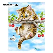 ZOOYA Diamond Painting Cat Animal Set For Painting Needlework Square Full Diamond Embroidery New 3D DIY Mosaic Pattern SF505