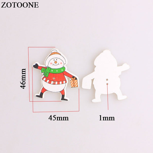 ZOTOONE Mix Christmas Wodden Buttons For Clothing Needlework Scrapbooking Snowman Santa Claus Craft Sewing Buttons Accessories A