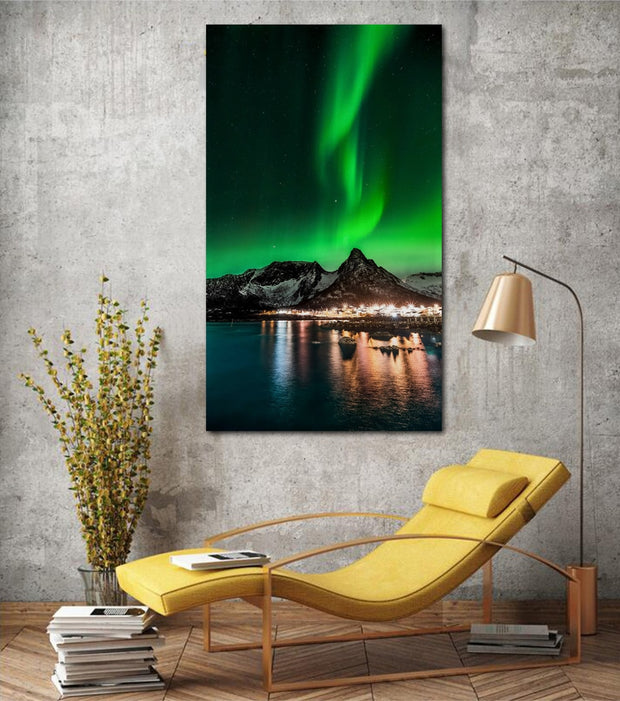 Beautiful Nightscape Aurora Northern Lights Vertical Living Room Decor Home Wall Art Decor Wood Frame Fabric Posters KH053