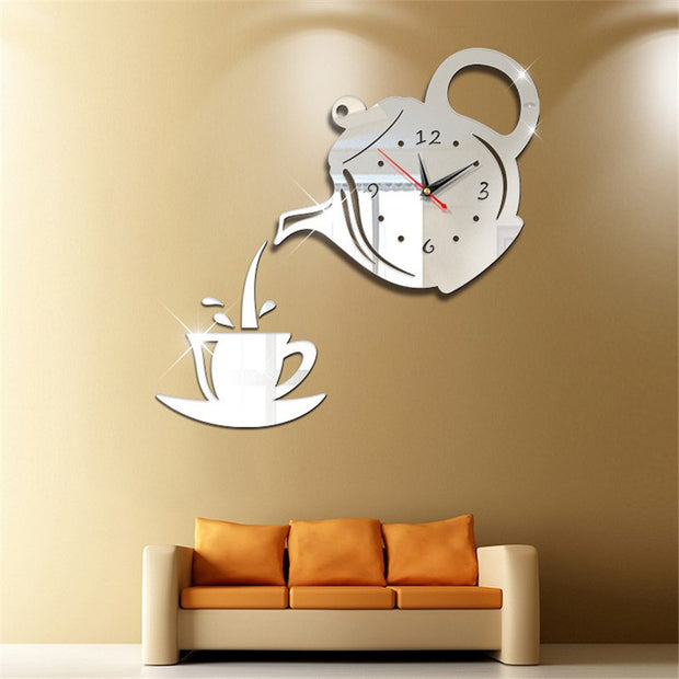 Diy 3D New Mirror Silent Wall Clock Modern Design Stickers Clock For Living Room Horloge Wanduhr Wall Watch Decor Home Klok