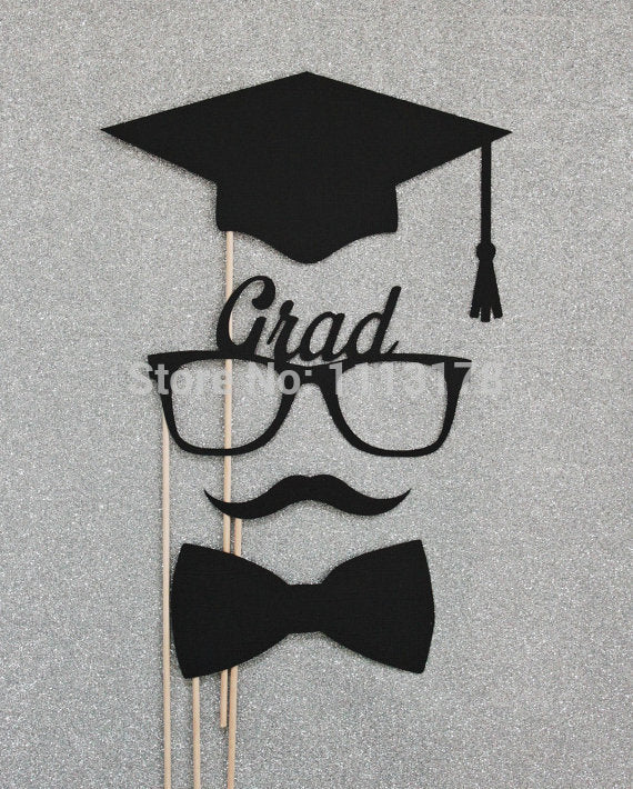 Fashion Graduation Photo Booth Props. Class Of 2015 Photo Props. Photo Booth Mustaches And Lips