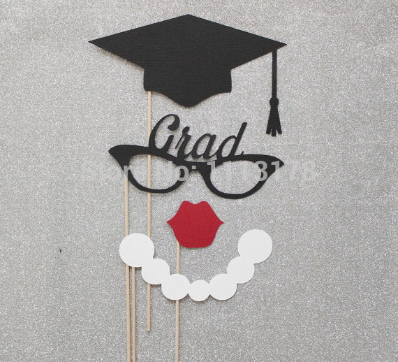 Fashion Girl Graduation Photo Booth Props. Class Of 2015 Photo Props. Photo Booth Mustaches And Lips