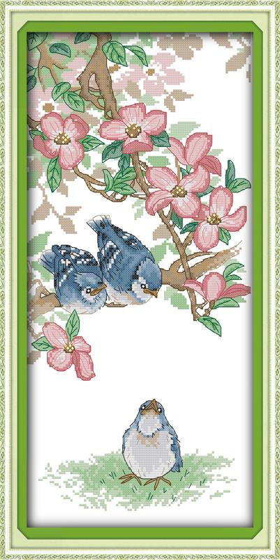 Home Decoration 14CT 11CT The Blue Bird DIY Needlework Dmc Counted Free Cross Stitch Kits For Embroidery Knitting Needles Set