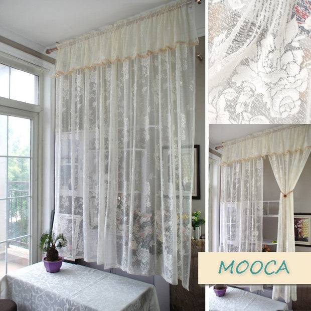 Ivory White Lace Curtain Vintage Curtain For Living Room Finished Curtain