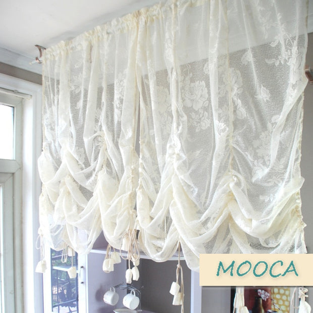 Ivory White Ruffled Lace Curtain Pull Up Decoration Curtain For Window Vintage Curtain