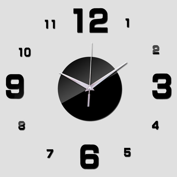 New Diy Wall Clock Digital Clocks Watch Horloge Acrylic 3d Mirror Stickers Morden Living Room Still Life Quartz Needle