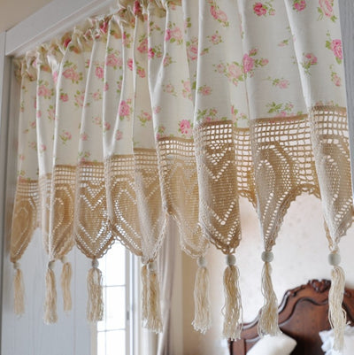 Rustic Rose Print Curtain Crochet Tassel Kitchen Curtain Pink