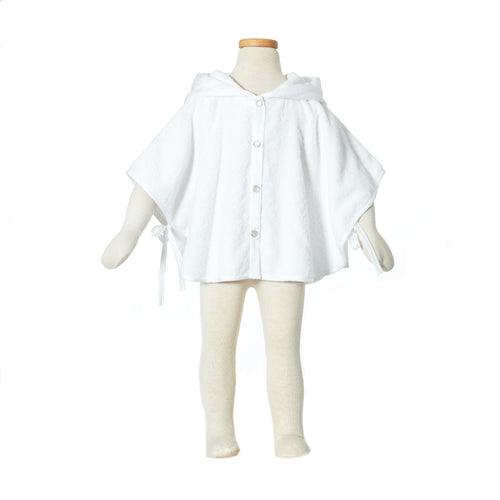 Bathcape all white terry sateen badcape peignoir Plumeline buy online kopen