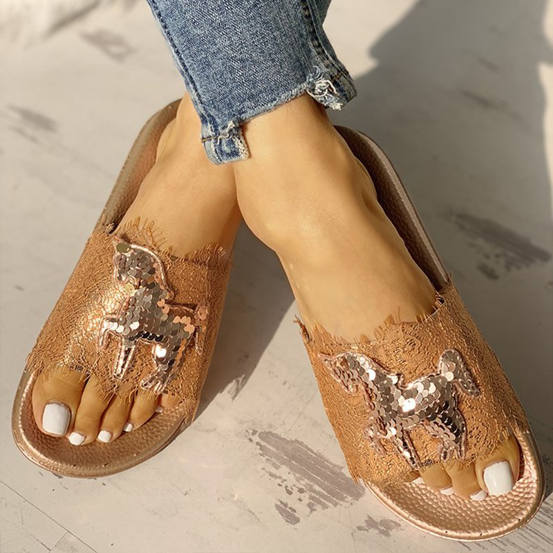 Sequins Animal Pattern Flat Sandals