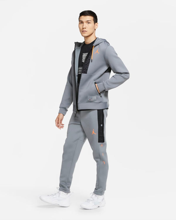 Jordan Air Fleece Hoodie Grey/Orange (4-6 day delivery)
