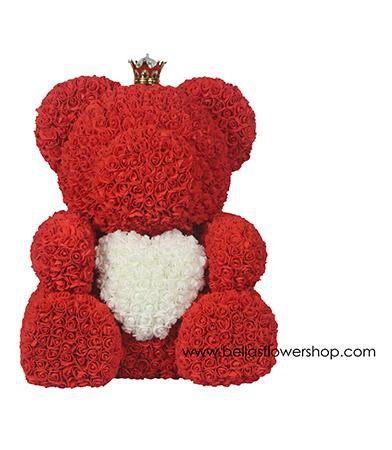 "Large Bella  Rose Bear with Heart - 27"" Tall"