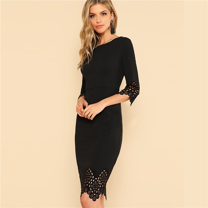 fd3900a226bd Half Sleeve Zip Back Hollow Out Bodycon Midi Dress