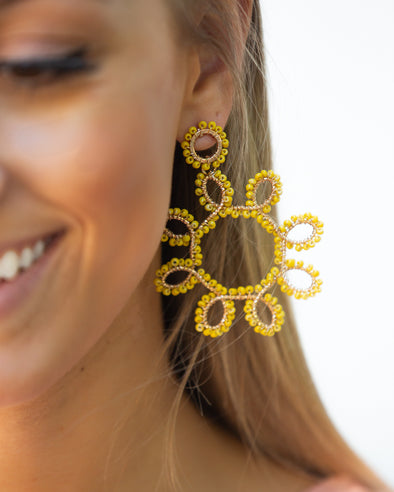 Sunburst Statement Earrings- Yellow