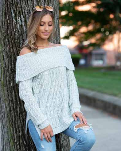 Catching Feelings Off-The-Shoulder Sweater