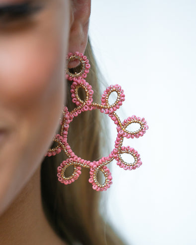 Sunburst Statement Earrings- Pink