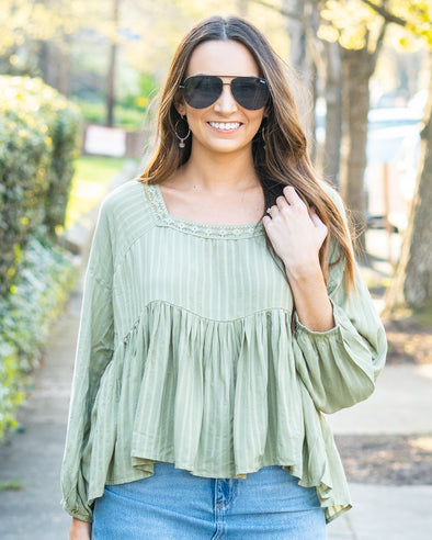 Willow Striped Peplum Top