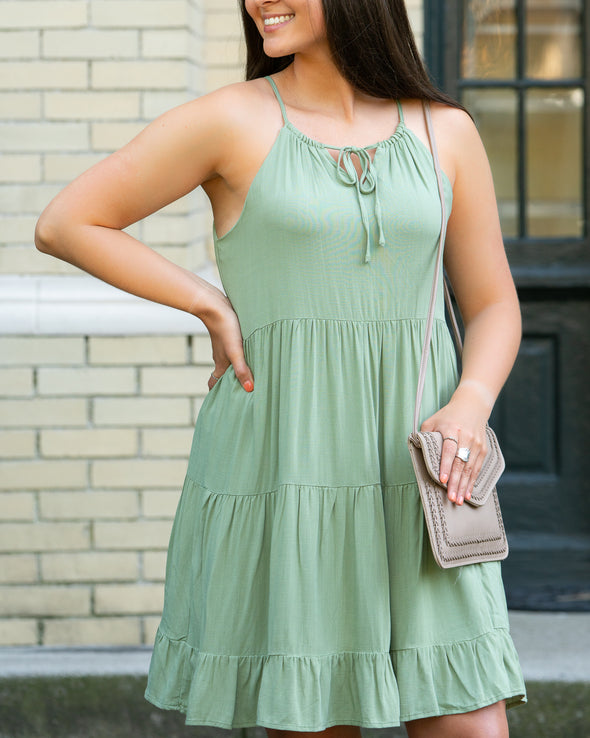 Some Time Soon Olive Dress