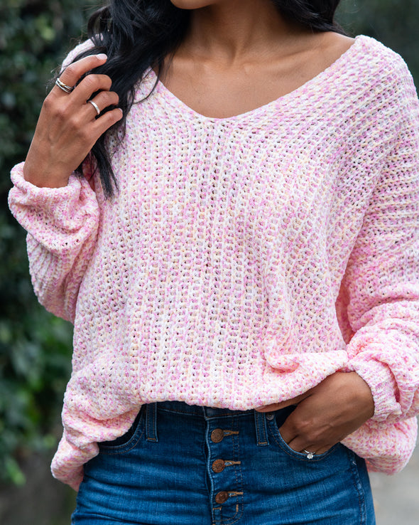 Leave Me Breathless Pink-Multi Oversized Sweater