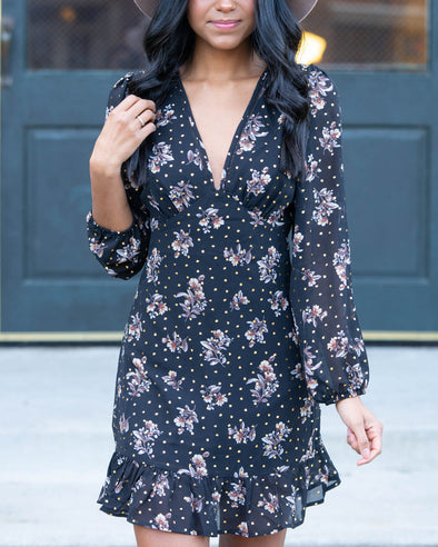 Make It Happen Black Floral Print Dress
