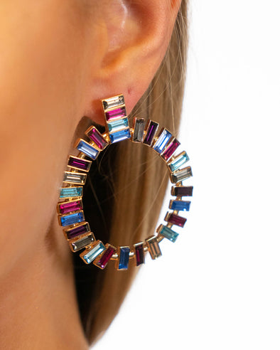 Crystal Rainbow Statement Earrings