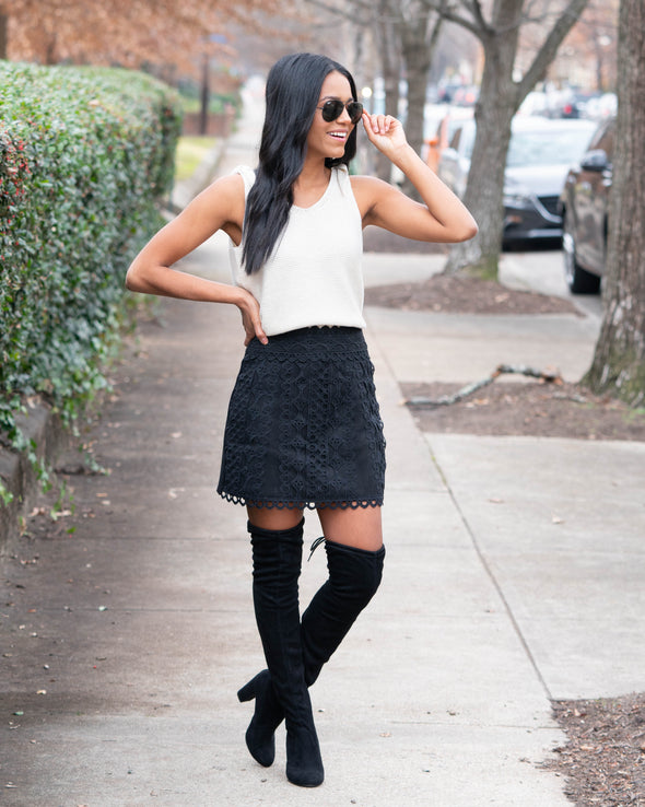 Lasting Impression Faux Suede Mini Skirt