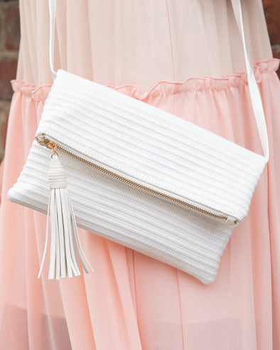 Stella Beaded White Crossbody Clutch