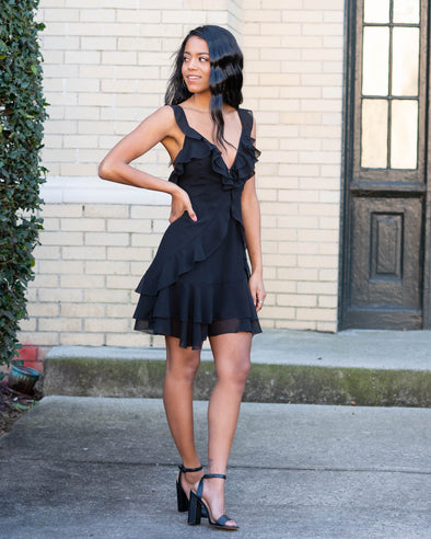 Unforgettable Ruffle Black Dress
