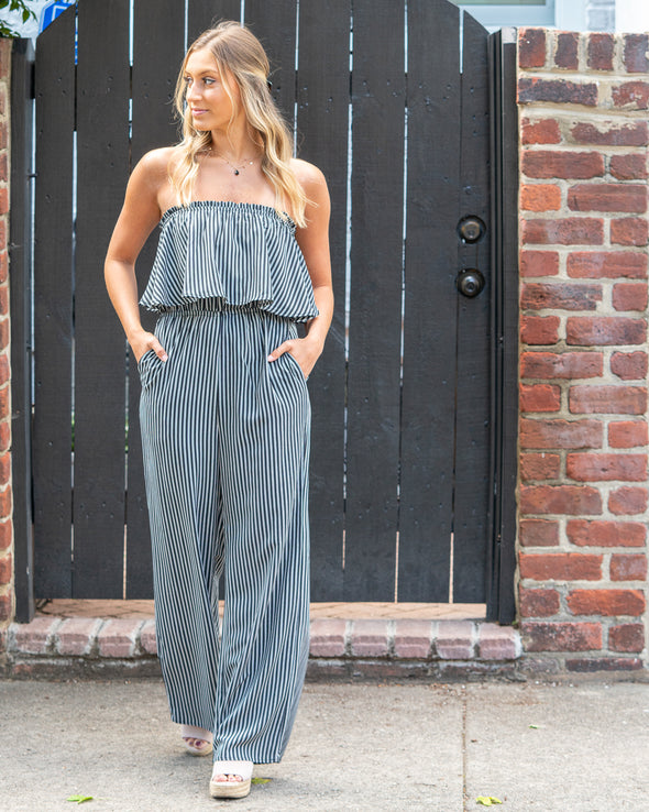 On Deck Strapless Striped Jumpsuit