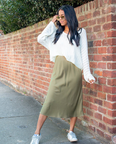 Minimal Effort Olive Satin Midi Skirt