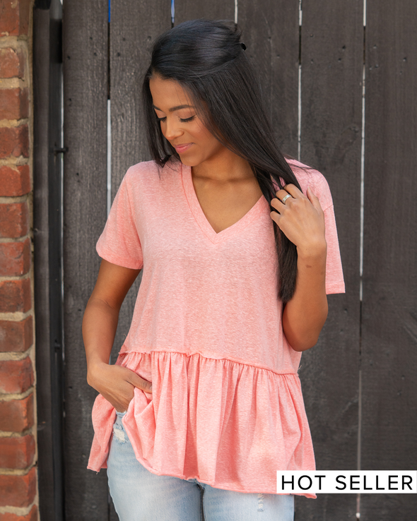 Simple Times Heathered Tee- Coral