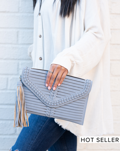 Around Town Dusty Blue Crossbody Clutch
