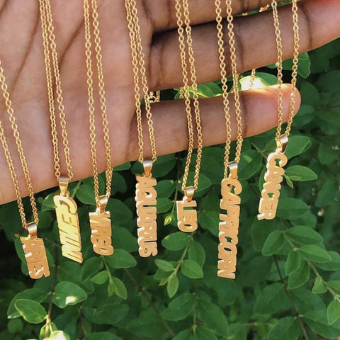 Zodiac Sign Gold Necklace (Vertical)