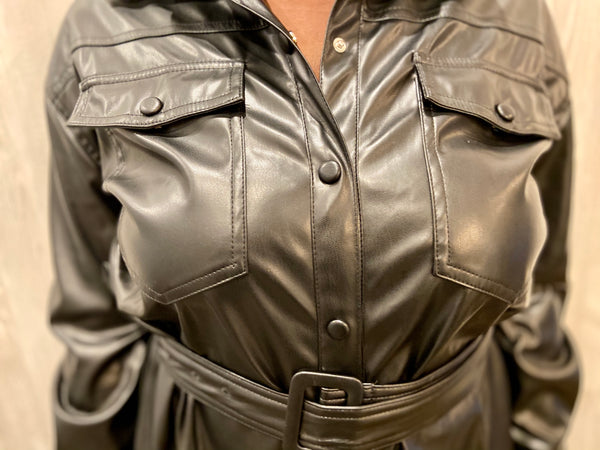 Noir Belted PU Leather Shirt
