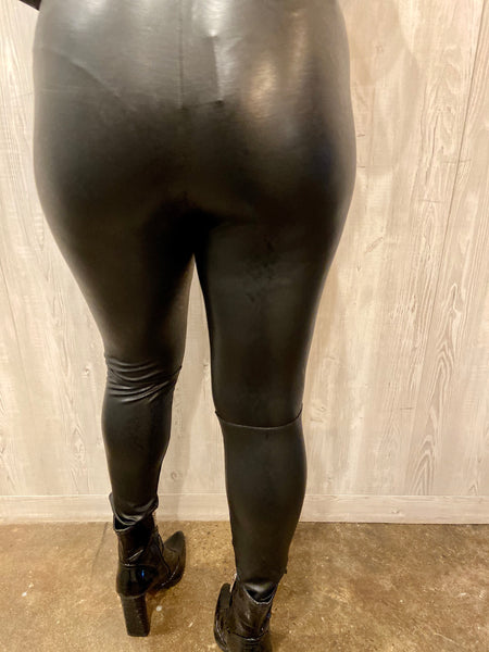 Mia Black PU Leather Leggings