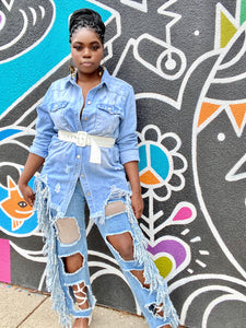 oversized denim distressed shirt