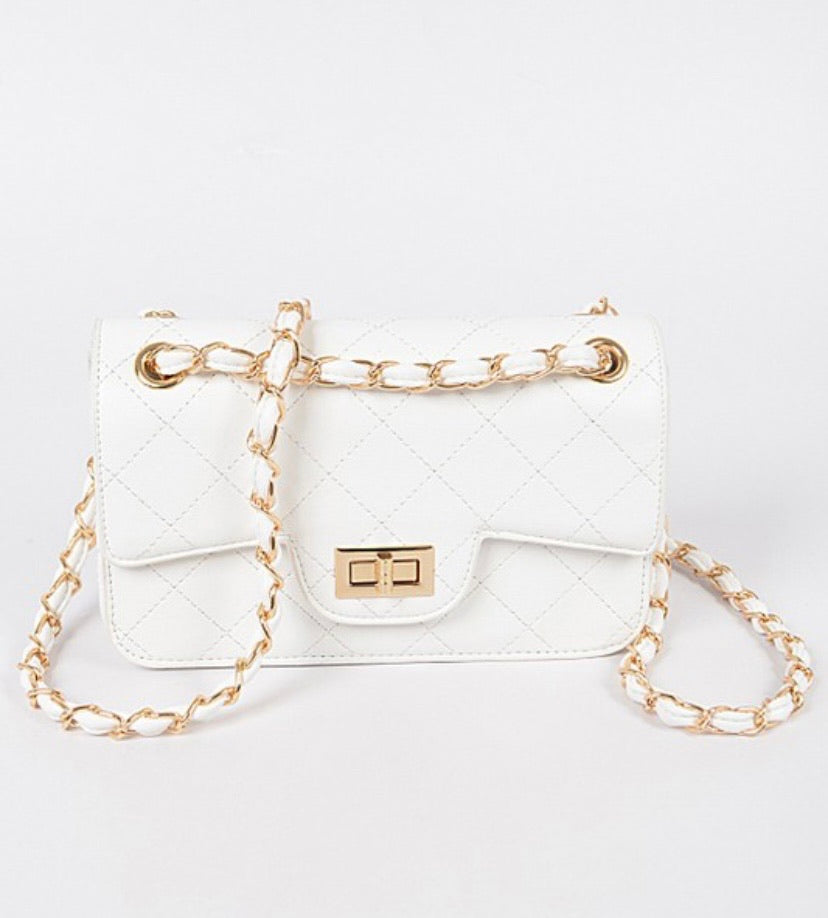 White No Competition Faux Leather Clutch