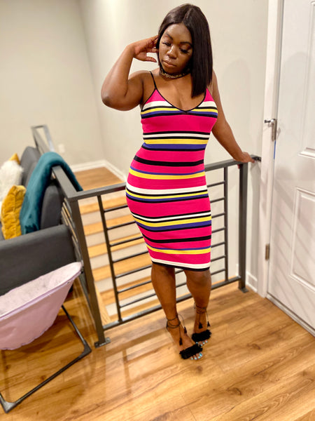 pink stripped midi dress