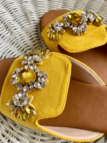 Pearl Mustard Yellow Sandals