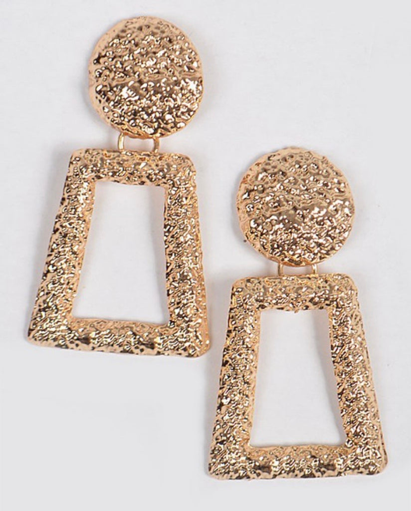 The Classic Hour Gold Hammered Earrings