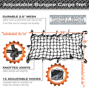 "22""x38"" Bungee Cargo Net for Rooftop Cargo Carrier & Cargo Hitches"