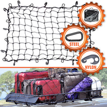 Load image into Gallery viewer, 3'x4' Bungee Cargo Net for Oversized Rooftop  Cargo Carrier & Small Trucks - Black Carabiners