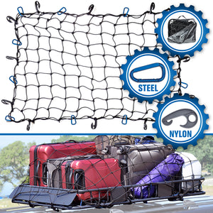 3'x4' Bungee Cargo Net for Oversized Rooftop  Cargo Carrier & Small Trucks - Blue Carabiners
