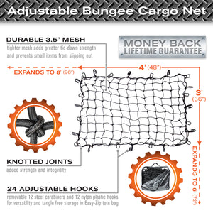 3'x4' Bungee Cargo Net for Oversized Rooftop  Cargo Carrier & Small Trucks - Black Carabiners