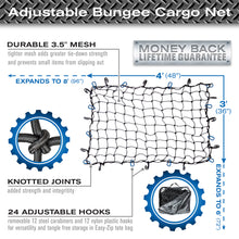 Load image into Gallery viewer, 3'x4' Bungee Cargo Net for Oversized Rooftop  Cargo Carrier & Small Trucks - Blue Carabiners