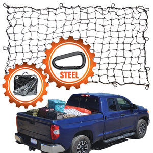 4'x6' Bungee Cargo Net for Trucks/Trailers - Black Carabiners