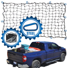 Load image into Gallery viewer, 4'x6' Bungee Cargo Net for Trucks/Trailers - Blue Carabiners